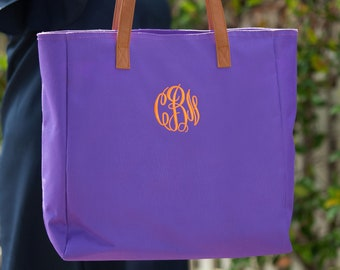 Purple Monogrammed Tote Bag, Personalized Bag