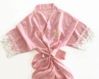 Girl's Monogram Cotton Lace Robe