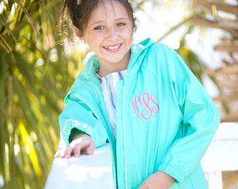 Kids Mint Personalized Rain Jacket