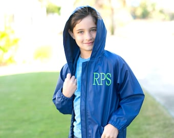 Kids Navy Blue Personalized Rain Jacket