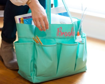 Mint Monogram Carry All Bag, Large Personalized Organizer Bag