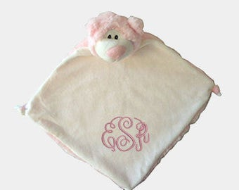 Pink Bear Personalized Lovie Blanket for Baby