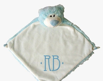 Blue Bear Personalized Lovie Blanket for Baby
