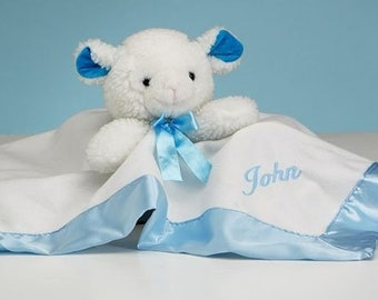 Personalized Lamb Snuggly Blanket for Baby - Blue