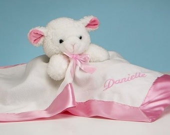 Personalized Lamb Snuggly Blanket for Baby - Pink