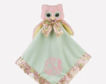 Pink Owl Personalized Lovie Blanket for Baby