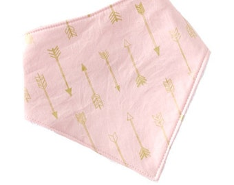 Blush Gold Arrows Bandanna Bib