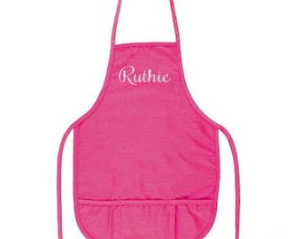 Hot Pink Kids Apron with Pockets and Embroidery Personalization