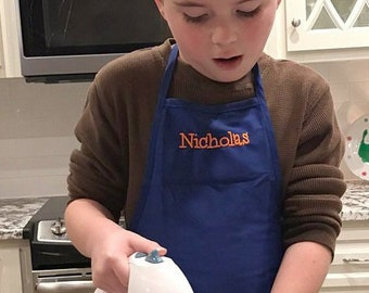 Blue Kids Aprons with Embroidery Personalization