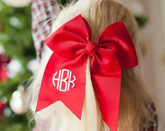 Red Monogram Jumbo Hair Bow, Personalized Girl's Bows