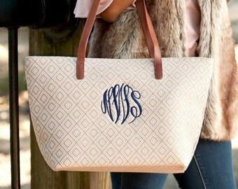Tan Diamond Charlotte Monogrammed Purse, Personalized Bag