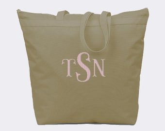 Khaki Recycled Zipper Tote Bag with Embroidery Personalization