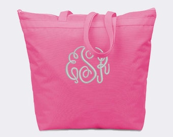 Hot Pink Recycled Zipper Tote Bag with Embroidery Personalization