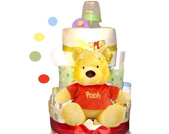 Winnie The Pooh Diaper Cake 3 Tier - Baby Shower Centerpiece and Gift