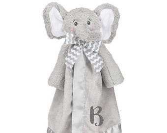 Elephant Personalized Lovie Blanket for Baby, Grey Elephant