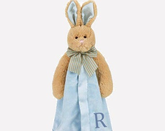 Blue Bunny Personalized Lovie Blanket for Baby