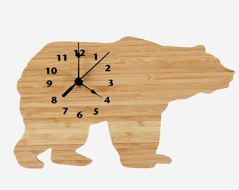 Bamboo Northwoods Bear Wall Clock