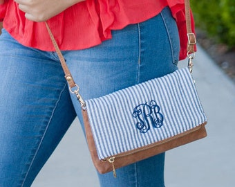 Navy Seersucker Monogrammed Crossbody Purse, Personalized Bag