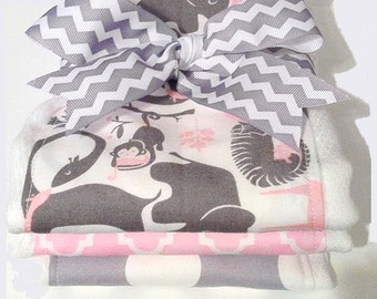 Pink and Gray Safari Burp Cloths - Set of Three Burp Cloths