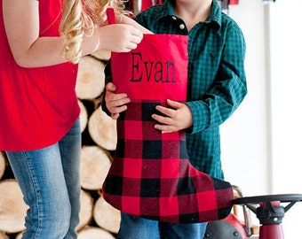 Red Buffalo Plaid Farmhouse Christmas Stocking