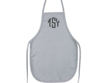 Grey Kids Apron with Embroidery Personalization
