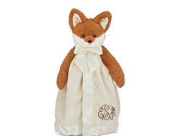 Fox Personalized Lovie Blanket for Baby, Cream and Brown Fox