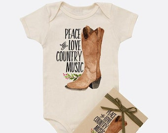 Peace, Love, Country Music Organic Baby Onesie