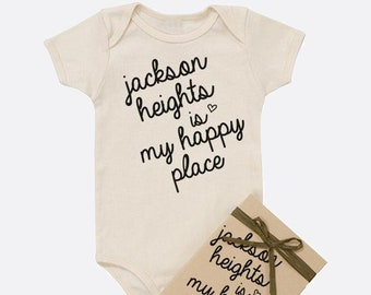 Happy Place - Custom Place Organic Baby Onesie