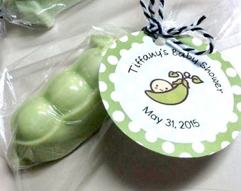 Sweet Pea Soap Party Favors, Personalized Tags, Peapod Favors