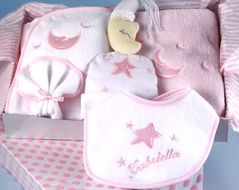 Reach for The Stars Personalized Layette Baby Girl Gift