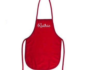 Red Kids Apron with Embroidery Personalization