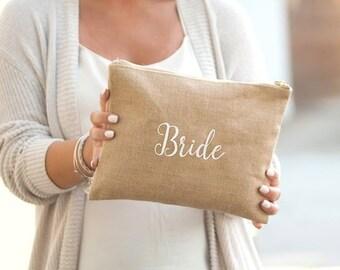 Bride Burlap Zip Pouch