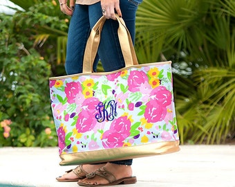 Floral Cabana Monogram Tote, Large Personalized Canvas Bag