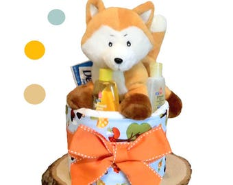 Forest Fox Diaper Cake 1 Tier - Baby Shower Centerpiece and Gift