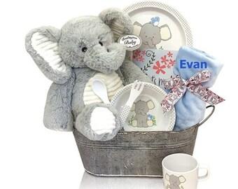 Baby Girl Blue Elephant Tin Gift Set