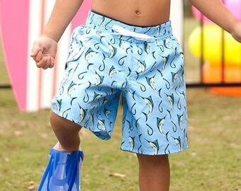 Hooked Boys Swim Trunks, Monogram Swim Shorts for Boys