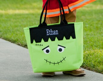Frankenstein Halloween Tote, Monogrammed Tote Bag, Personalized Bag