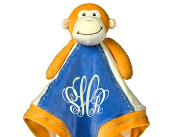Organic Cotton Monkey Personalized Lovie Blanket for Baby