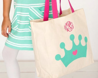 Crown Canvas Tote, Monogrammed Tote Bag, Personalized Bag