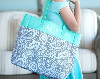 Parker Paisley Monogrammed Tote Bag, Personalized Bag