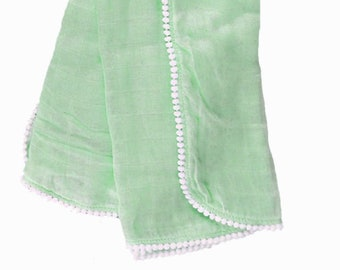 Saltwater Gauze Swaddle Blanket with White Pom Pom Trim/Newborn Muslin Blanket