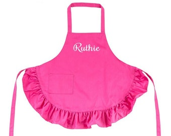 Hot Pink Kids Apron with Ruffles and Embroidery Personalization