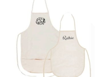 Mommy and Me Natural Aprons with Embroidery Personalization