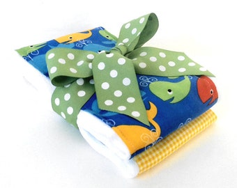 Happy Whales Baby Burp Cloths - Baby Shower Gift