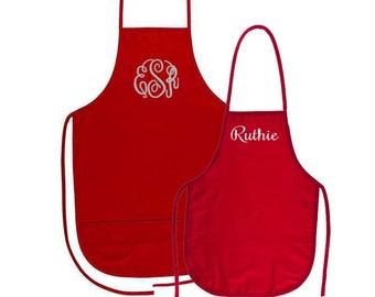 Mommy and Me Red Aprons with Embroidery Personalization