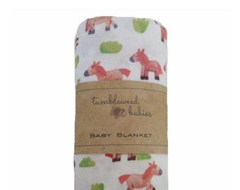 Pink Brownie Pony Baby Receiving Blanket /Swaddle Blanket/Newborn Flannel Blanket