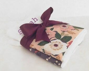 Mauve Floral Personalized Burp Cloth Set