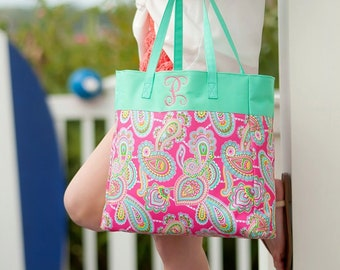 Lizzy Monogrammed Tote Bag, Personalized Bag