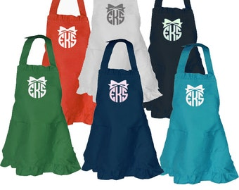 Children's Solid Color Cotton Aprons with Ruffles and Monogram Personalization