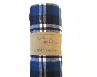 Blue Buffalo Plaid Baby Receiving Blanket /Swaddle Blanket/Newborn Flannel Blanket